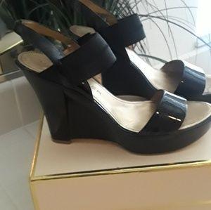 Black strappy platforms